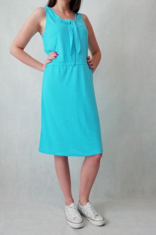 sukienka letnia błękitna na ramiączkach