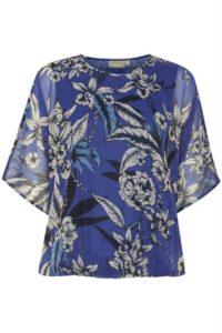 niebieska bluzka w kwiaty z szerokim rękawem