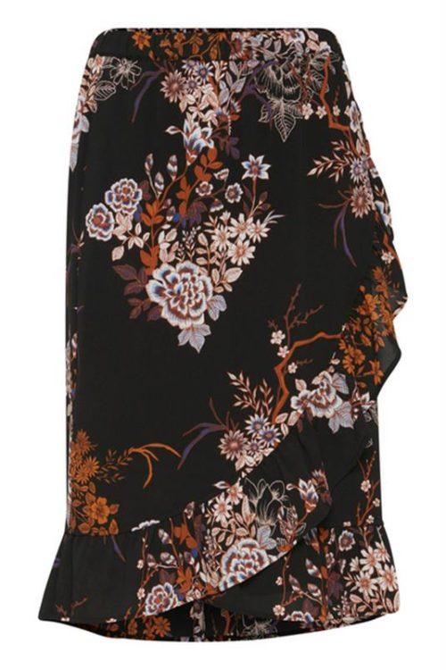 spódnica midi w kwiaty z falbanką