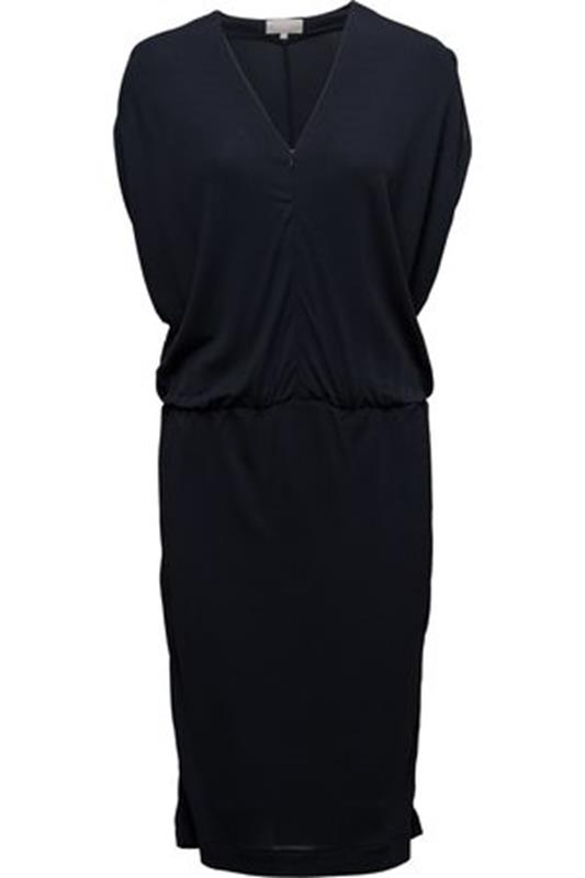 sukienka granatowa midi fason motylkowy