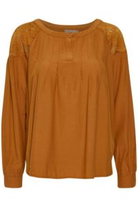 bluzka z długim rękawem w kolorze rudym zdobiona koronką na ramionach