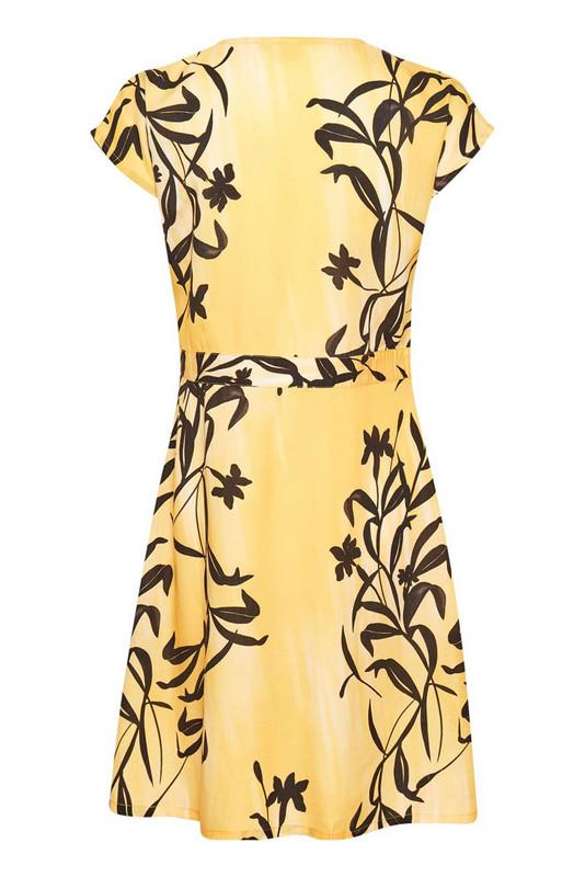 sukienka żółta z półrękawkiem w kwiaty