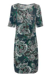 sukienka midi we wzory z rękawem przed łokieć