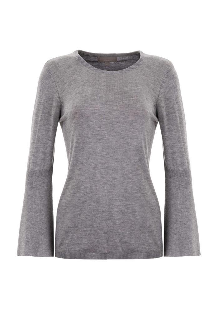 sweter szary z rozszerzanym rękawem