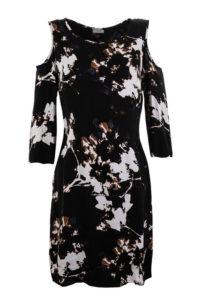sukienka do kolan bez ramion z rękawem 3/4 w białe kwiaty