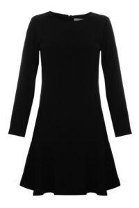 czarna sukienka elegancka rozszerzana z długim rękawem