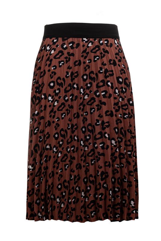 spódnica brązowa plisowana w panterkę