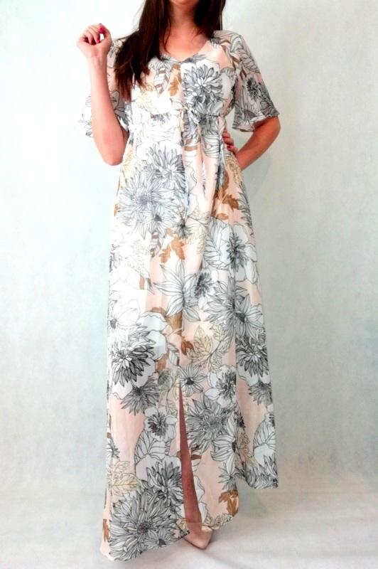 sukienka maxi w w kwiaty tkanina szyfonowa