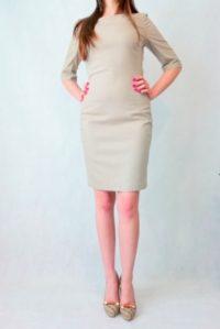 sukienka taliowana w paski z rękawem do łokcia