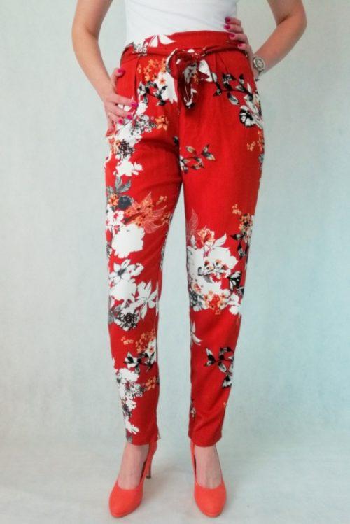 spodnie rude w kwiaty z wiskozy
