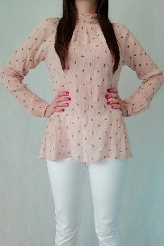 bluzka półgolf z długim rękawem w kolorze różowym