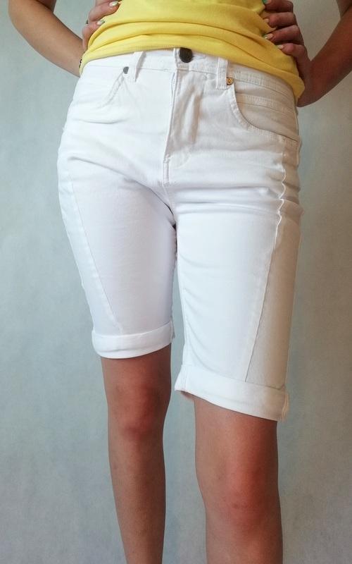spodenki krótkie białe z kieszeniami