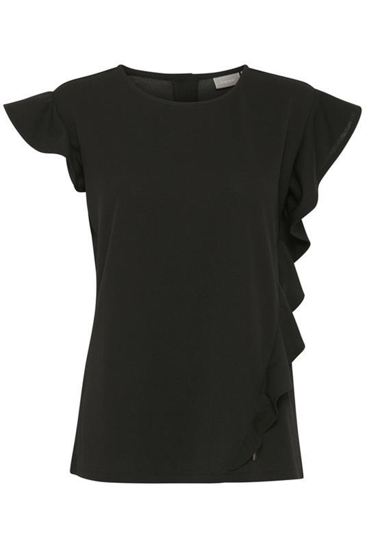 bluzka elegancka czarna z falbanami zdobiona z tyłu guzikami