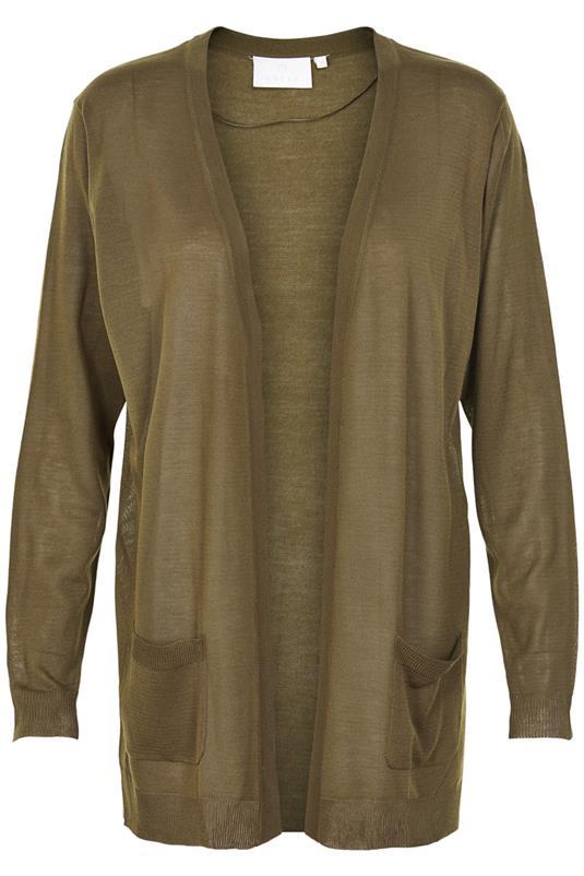 kardigan długi z kieszeniami koloru khaki