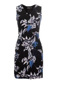 sukienka bez ramion w niebiesko białe kwiaty
