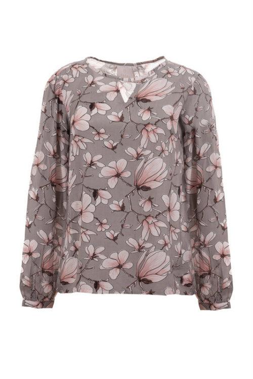 bluzka z wiskozy w kwiaty z łezką przy szyi