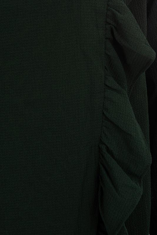 bluzka butelkowa zieleń z falbanami po bokach