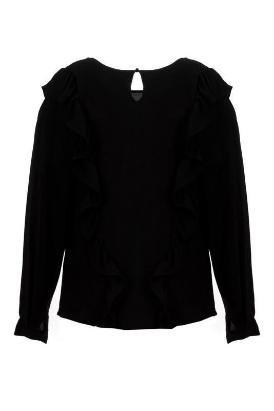 bluzka z falbanami czarna