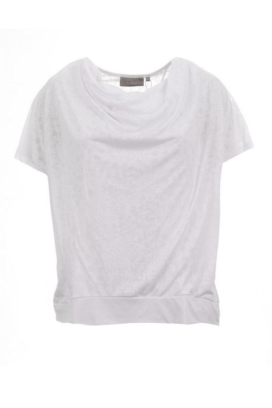 biała bluzka w centki prześwitująca z podszewką z przodu