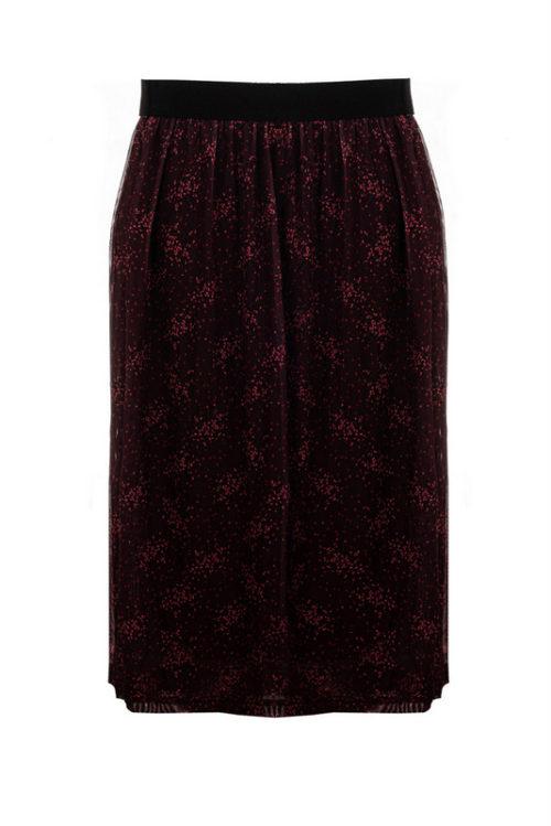 bordowa spódnica na gumce z podszewką, warstwa wierzchnia z tiulu