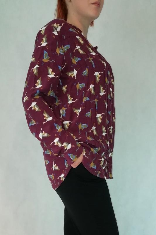 koszula na guziki z długim rękawem ze wzorem w żurawie