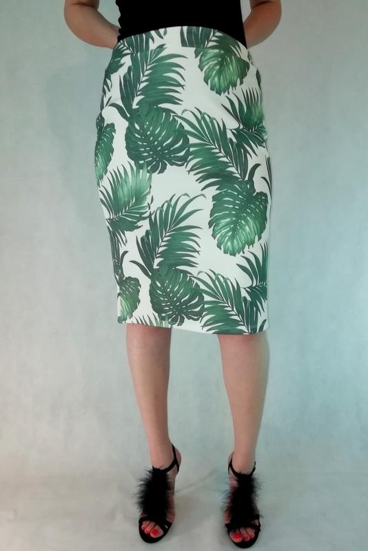 spódnica ołówkowa w duże zielone liście