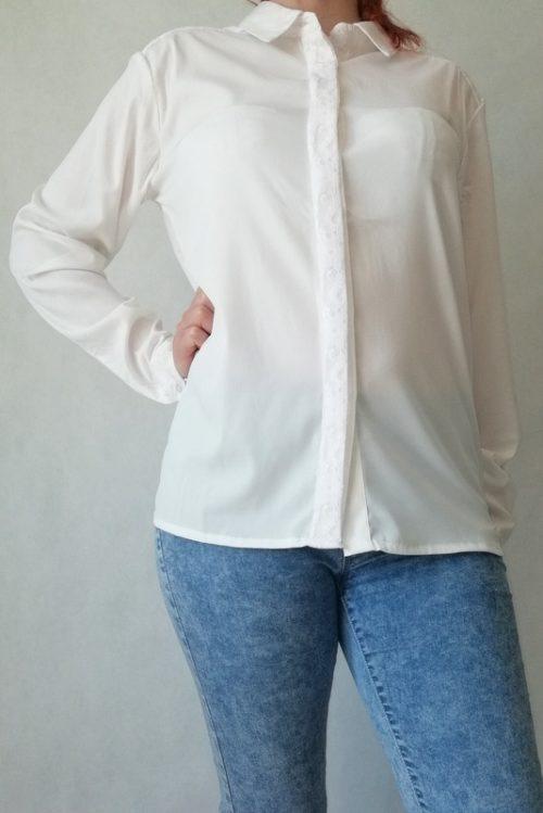 elegancka koszula biała z kołnierzykiem