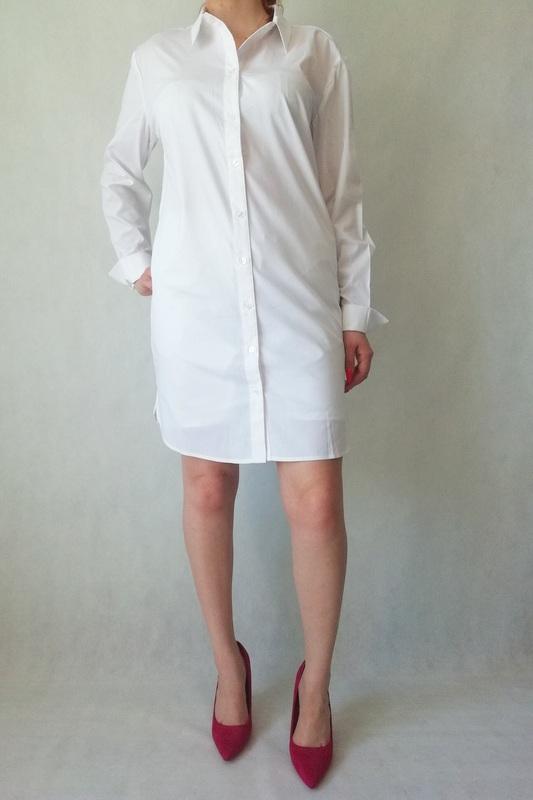 koszula przedłużana biała z mankietami