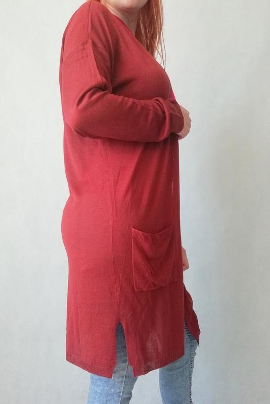 kardigan lub narzuta do kolan w kolorze rudym