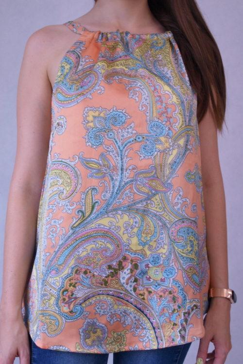 bluzka satynowa na ramiączkach w kolorowe wzory