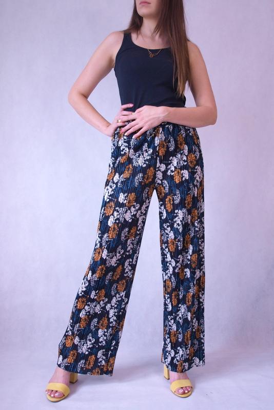 spodnie szerokie plisowane w kwiaty