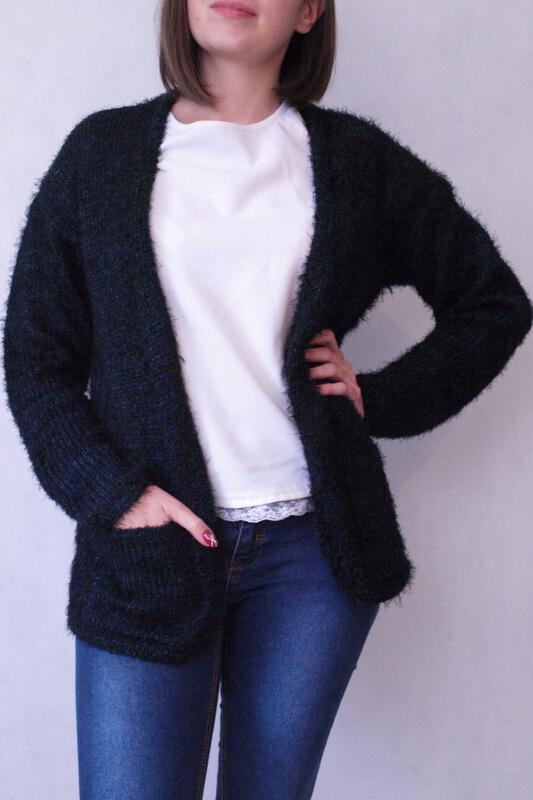 sweter dzianinowy włochaty