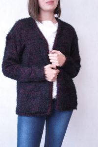 sweter dzianinowy włochaty różowo czarny