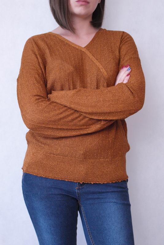 sweter brązowy błyszczący Fransa
